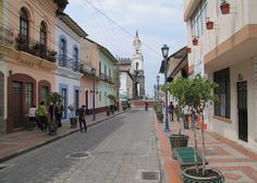 This is Cotacachi, Ecuador, not far from Otavalo.  We fell in love with this small town and if we move to Ecuador, this would be at the top of the list.  This is one of the streets leading to the main square and the cathedral.  September 2010