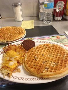 ❤❤❤❤this, only in certain States mostly southern The Waffle House. Pecan waffles, sausage, and smothered hash browns. There is nothing like it!