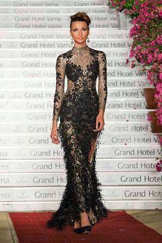 Black Wedding Dress Haute Couture Romantic Dress Black by Tonena