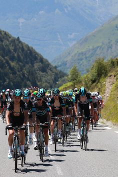 #TDF2016 The pack rides during the 184 km eighth stage of the 103rd edition of the Tour de France on July 9 2016 between Pau and BagneresdeLuchon...