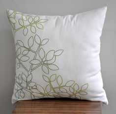 Green Leaf Pillow Cover Cream Linen Green Leaf by KainKain on Etsy
