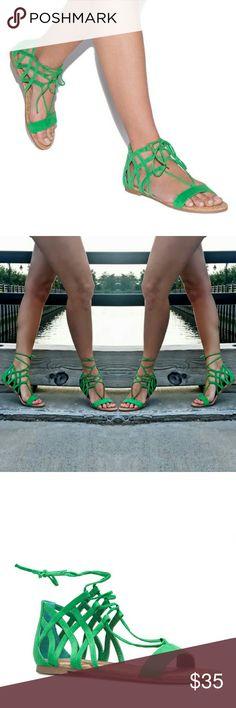 SHOEDAZZLE GREEN FAUX SUEDE SANDALS Adjustable ankle laces. True to size. Open toe front Shoe Dazzle Shoes Sandals