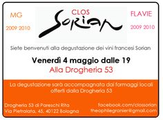 Ci vediamo alla Drogheria 53 di Rita (Via Pietralata, 45, Bologna) per una degustazione dei vini francesi Clos Sorian