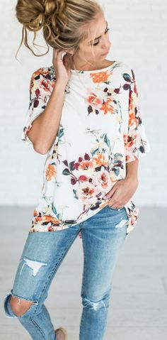 summer outfits  Trendy Outfit: Ptinted Top + Rips