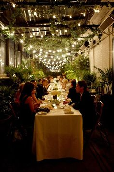 gramercy park wedding // belathee photography//long table, strung lights