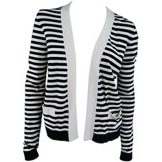 Preowned Chanel Size 6 Cream/black Striped Cardigan ($460) ❤ liked on Polyvore featuring tops, cardigans, sweaters, outerwear, jackets, grey, gray striped cardigan, short-sleeve cardigan, grey striped cardigan and chanel cardigan