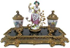 Antique Porcelain Bronze & Brass Inkwell
