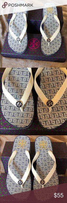 New Tory Burch Flip Flops. New in box Tory Burch wedge flip flops. The colors are ivory and blue. 100% authentic. Women's size 8. Comes from a smoke-free home. Bundle and I'll send you a private offer 😀 Tory Burch Shoes Sandals