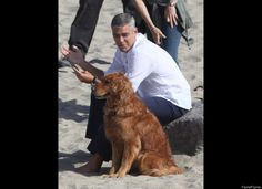 George Clooney found himself a canine companion while filming an Italian TV commercial in Malibu, Calif. Clooney and a dog? Too cute!