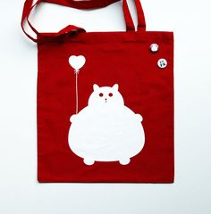 Cat tote bag, reusable shopping bag, cotton grocery accessory