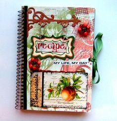 Altered Recipe Journal by Scrapbook Box, Recipe Scrapbook, Scrapbooking, Food Journal, Recipe Journal, Junk Journal, Altered Books, Altered Art, Diy Paper