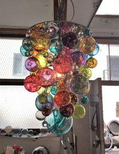 Blown Glass Chandelier, Blown Glass Art, Diy Chandelier, Glass Pendant Light, Glass Floats, Green Sofa, Glass Pumpkins, Dyi Crafts, Lampworking