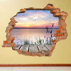 3D Vinyl Water Motif Wall Sticker