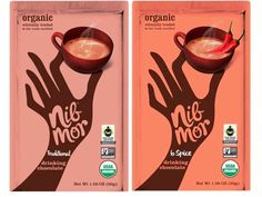 NibMor Organic Fair Trade Certified Drinking Chocolate 2 Flavor Variety Bundle: (1) NibMor Traditional Organic Drinking Chocolate, and (1) NibMor 6 Spice Organic Drinking Chocolate, 6.3 Oz. Ea.