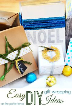 Easy DIY gift wrapping ideas @A T The Picket Fence