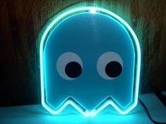 PacMan Light Blue Ghost Neon Bar Mancave Sign