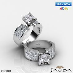 Asscher Invisible Set Diamond Engagement Ring GIA G SI1 14k White Gold 2.29 ct.