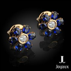 Forget-Me-Not Blue Sapphire & Diamond Earrings in yYellow gold 14k Sapphire And Diamond Earrings, Blue Sapphire, Natural Gemstones, Jewelry Making, Brooch, Forget, Gold, Brooches, Jewellery Making