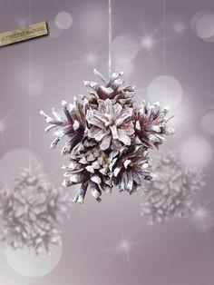 Pine cones snowflake Ornament nature and original decor for Christmas tree. , via Etsy.