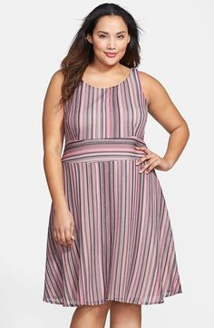 Gabby Skye Stripe Jacquard Fit & Flare Dress (Plus Size) available at #Nordstrom
