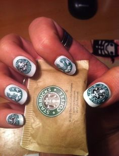 Starbucks Coffee nails. That's going a bit far with the love of Starbucks. LOL