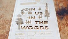 Rustic cutout wedding invitation