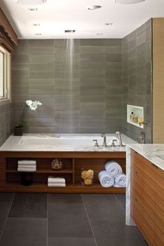What is even happening here? Storage and straight above shower? design layout spaces Issues Archives - Home & Design Magazine House Design, Home, Bathroom Makeover, Tub Shower Combo, Home Design Magazines, Bathrooms Remodel, Bathroom Tub Shower, Ceiling Shower Head, Bathroom Inspiration