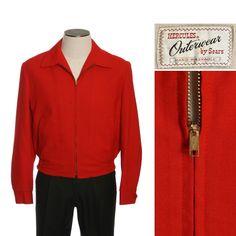 1950s Sears Hercules Red Wool Fleece Lined Jacket