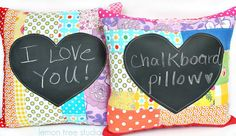 Cool idea:: Chalkboard Patchwork Pillow  Chasing Rainbows by LemonTreeStudio, $24.95