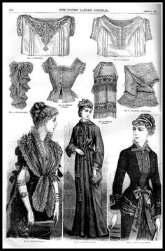 Young Ladies Journal 1881 [fashion and fancy-wo. 1880s Fashion, Victorian Fashion, Vintage Fashion, Vintage Gowns, Vintage Ladies, Vintage Outfits, Sister Costumes, Victorian Costume, Victorian Dresses