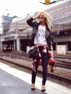 Swedish style blogger Angelica Blick in 'The train passing me by' wearing jeans from Crocker, shoes from Zara, top from Nelly Trend, Lindex sunnies, leather jacket from Angelica Blick for NLY trend, Wrangler shirt and bag from Mango.