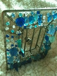 make an offer VTG. Beaded Picture PHOTO FRAME Metal Stand Wire ART DECO Unique Mothers day