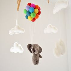 Baby Mobile Elephant with rainbow balloons and clouds