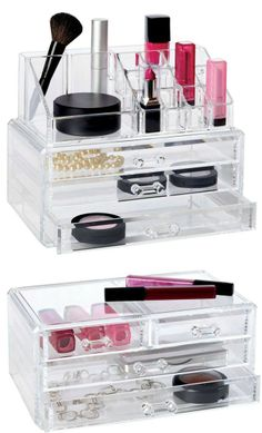 Clear Plastic Organizers for Your Makeup! Functional and Beautiful :-) https://www.hautelook.com/index/index/mk/invite/inventory_id/11400871/?sid=75971&mid=affiliate&cid=hellosoci7&aid=type294&utm_source=Pinterest&utm_medium=HardPin&utm_campaign=type294&utm_content=1225 | DIY: Be Your Own Beauty Stylist