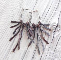 Copper Branch Earrings - Sterling Silver hoops.