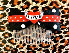 Tattoo Lovely Heart and Polka Dots Hair Comb via Etsy