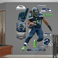Seattle Seahawks Marshawn Lynch Wall Decals Beast Mode 12th Man Boys Room Vinyl