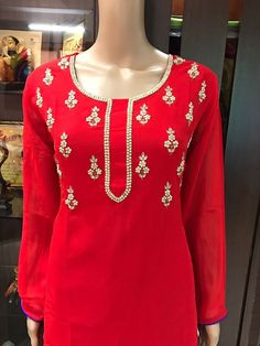 Georgette kurti with skirt