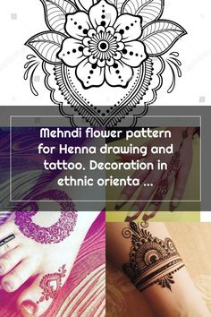 Mehndi flower pattern for Henna drawing and tattoo. Decoration in ethnic oriental, Indian style. Henna Patterns, Flower Patterns, Mehndi Flower, Henna Drawings, Indian Style, Indian Fashion, Oriental, Ethnic, Decoration