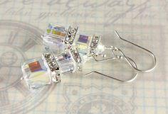 Swarovski Bridal Earrings Crystal Cubes by NancysCrystalFantasi, $35.00
