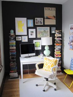 black accent walls in an office