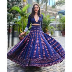 Ira Dubey dials up the magic of spring in a vibrant denim lehenga and crop top blouse by Monica & Karishma at the showcase of #AAVYA – #SS19 at the Luxury Lifestyle Weekend. Fabulous Dresses, Stylish Dresses, Beautiful Dresses, Designer Bridal Lehenga, Bridal Lehenga Choli, Saree, Lehenga Crop Top, Desi Clothes, Indian Clothes
