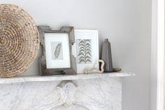 modern wall art feather block print on white organic hemp - without frame