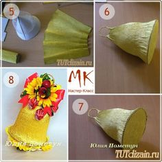 Подарок для учителя к 1 сентября. Мастер-класс How To Make Paper Flowers, Crepe Paper Flowers, Chocolate Bouquet, Flower Tutorial, Plates On Wall, Flower Art, Diy And Crafts, Projects To Try, Xmas