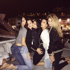 'Squad goals': Bella (centre left) can't get enough of her friends (l-r) Kendall, Kylie Je...