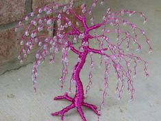 READY TO SHIP-Pink Wire Tree Sculpture With Iridescent Teardrop Glass Beads-Christmas-Mother's Day-Grandmother-Grandparent's day. $55.00, via Etsy.