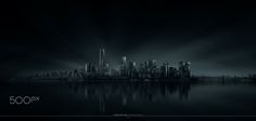 New York skyline. Panorama of four landscape images @105mm.