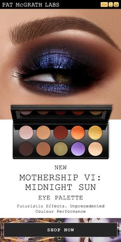 Recreate this rich blue smokey eye makeup look with PAT McGRATH LABS *new* MOTHERSHIP VI: Midnight Sun Eyeshadow Palette. 10 universally flattering shades, from silky mattes, major metallics, and sublime glitter pigments. Get the look at PATMcGRATH. Makeup Inspo, Makeup Inspiration, Makeup Tips, Beauty Makeup, Makeup Ideas, Ideas Maquillaje Halloween, Halloween Makeup, Halloween Eyeshadow, Witch Makeup