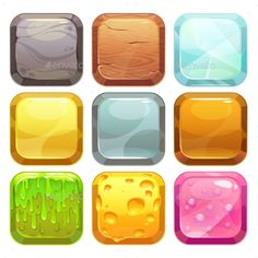 Buy Cartoon Square Buttons Set by on GraphicRiver. Cartoon square buttons set, app icons with different textures, isolated on white Game Gui, Game Icon, Game Ui Design, Icon Design, Ux Design, Ui Buttons, Game Buttons, Game Textures, Button Game