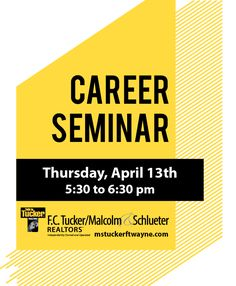 Join us at our North Office, 10351 Dawsons Creek Building 4, Suite D on April 13th for a Free Career Seminar. We will go through the fast-paced and rewarding work of being a real estate agent. You will find out the cost involved, top of the line schooling choices, and what it takes to have a career in real estate. #fctuckermalcolmschlueter #fortwaynejobs #realestatecareer To find out more go to mstuckerftwayne.com/about/careers Real Estate Jobs, How To Find Out, How To Become, School Info, We Are Hiring, Looking For A Job, What It Takes, Join, Choices